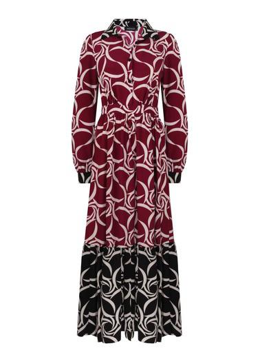 Mizalle Eteği Desenli Uzun Elbise Siyah
